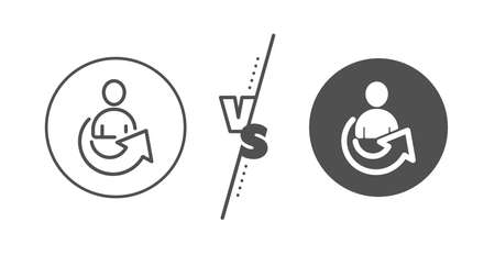 Business management sign. Versus concept. Share line icon. Employee, Manager refer symbol. Line vs classic share icon. Vector