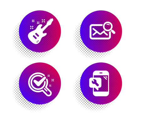 Electric guitar, Search mail and Chemistry lab icons simple set. Halftone dots button. Phone repair sign. Musical instrument, Find letter, Lab research. Spanner service. Business set. Vector