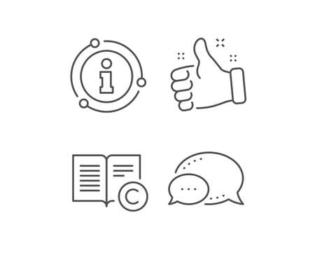 Copyright line icon. Chat bubble, info sign elements. Copywriting or Book sign. Feedback symbol. Linear copyright outline icon. Information bubble. Vector Illustration