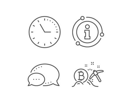 Bitcoin mining line icon. Chat bubble, info sign elements. Cryptocurrency coin sign. Crypto money pickaxe symbol. Linear bitcoin mining outline icon. Information bubble. Vector