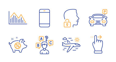 Piggy sale, Airplane travel and Parking line icons set. Smartphone, Quiz test and Unlock system signs. Investment graph, Touchscreen gesture symbols. Discounts, Trip flight. Business set. Vector