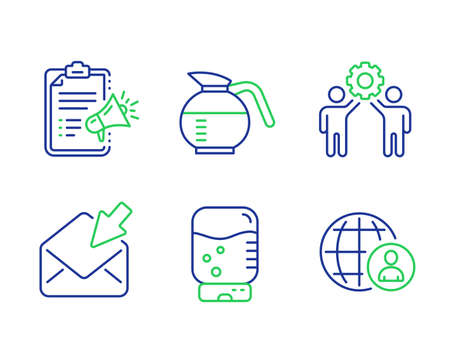 Megaphone checklist, Coffeepot and Employees teamwork line icons set. Water cooler, Open mail and International recruitment signs. Brand check, Brewed coffee, Collaboration. Office drink. Vector