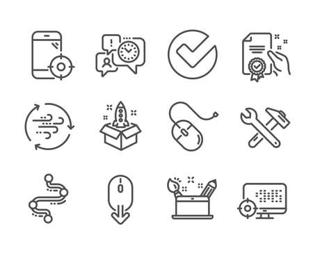 Set of Technology icons, such as Wind energy, Scroll down, Verify, Certificate, Seo phone, Startup, Computer mouse, Time management, Timeline, Spanner tool, Creativity concept, Seo. Vector