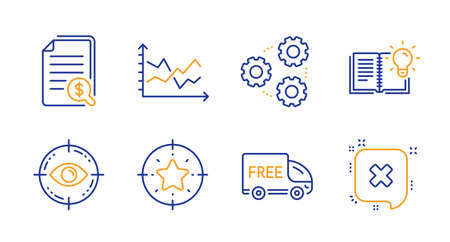 Free delivery, Diagram chart and Star target line icons set. Product knowledge, Eye target and Financial documents signs. Gears, Reject symbols. Shopping truck, Presentation graph. Vector