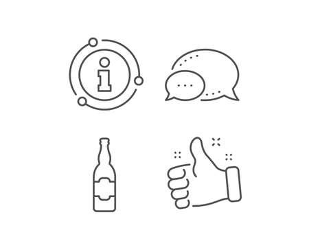 Beer bottle line icon. Chat bubble, info sign elements. Pub Craft beer sign. Brewery beverage symbol. Linear beer bottle outline icon. Information bubble. Vector Ilustração