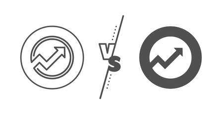 Report graph or Sales growth sign in circle. Versus concept. Chart line icon. Analysis and Statistics data symbol. Line vs classic audit icon. Vector Illustration