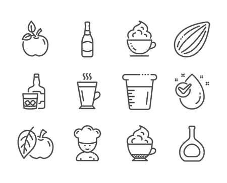 Set of Food and drink icons, such as Beer bottle, Coffee cup, Whiskey glass, Apple, Cooking chef, Water drop, Latte, Cooking beaker, Cognac bottle, Almond nut, Cappuccino cream, Eco food. Vector