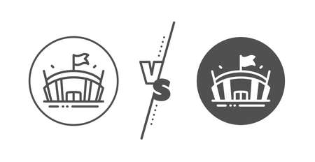 Arena with flag sign. Versus concept. Sports stadium line icon. Sport complex symbol. Line vs classic arena icon. Vector