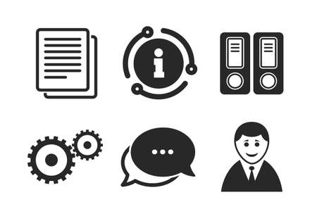 Human silhouette, cogwheel gear and documents folders signs symbols. Chat, info sign. Accounting workflow icons. Classic style speech bubble icon. Vector Çizim