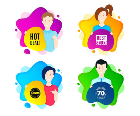 Hot deal. People shape offer badge. Special offer price sign. Advertising discounts symbol. Dynamic shape offer. Worker person badge. Cut out people coupon. Hot deal text. Vector
