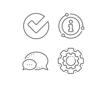 Check line icon. Chat bubble, info sign elements. Approved Tick sign. Confirm, Done or Accept symbol. Linear verify outline icon. Information bubble. Vector Ilustração