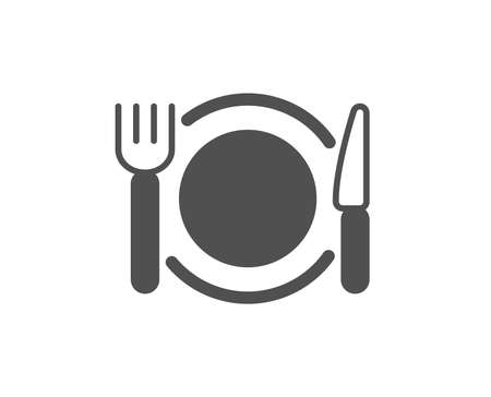 Dinner sign. Restaurant food icon. Hotel service symbol. Classic flat style. Simple restaurant food icon. Vector