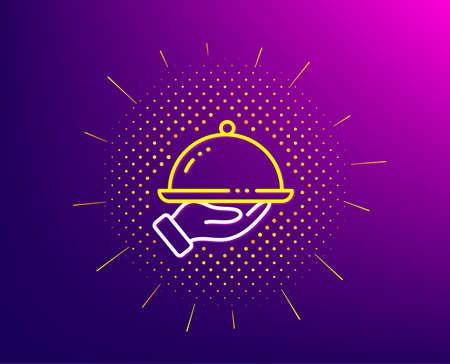 Restaurant food line icon. Halftone pattern. Dinner sign. Hotel room service symbol. Gradient background. Restaurant food line icon. Yellow halftone pattern. Vector