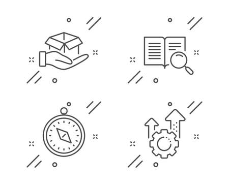 Travel compass, Search text and Hold box line icons set. Seo gear sign. Trip destination, Open book, Delivery parcel. Cogwheel. Line travel compass outline icon. Vector Illustration