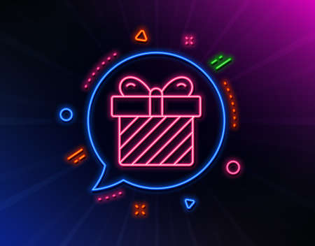 Gift box line icon. Neon laser lights. Present or Sale sign. Birthday Shopping symbol. Package in Gift Wrap. Glow laser speech bubble. Neon lights chat bubble. Banner badge with surprise icon. Vector