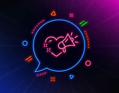 Love message line icon. Neon laser lights. Heart and megaphone sign. Valentine day symbol. Glow laser speech bubble. Neon lights chat bubble. Banner badge with love message icon. Vector