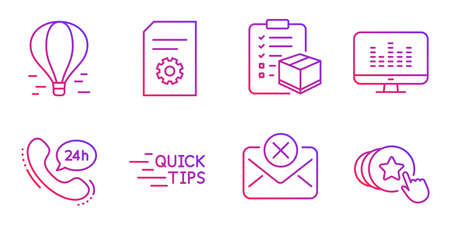 Music making, Reject mail and Education line icons set. 24h service, File settings and Air balloon signs. Parcel checklist, Hold heart symbols. Dj app, Delete letter. Business set. Vector Illustration