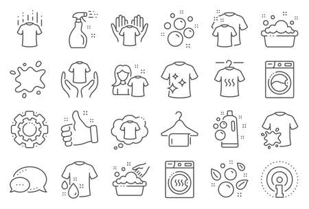 Laundry line icons. Dryer, Washing machine and dirt shirt. Hand washing, soap bubbles in basin icons. Dry t-shirt, laundry service, dirty smudge spot. Clean clothes. Line signs set. Vector