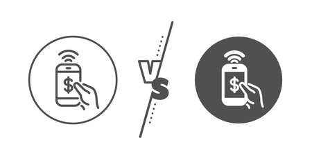 Dollar pay sign. Versus concept. Phone Payment line icon. Finance symbol. Line vs classic phone payment icon. Vector