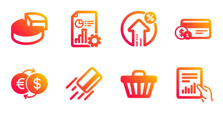 Shop cart, Report and Payment method line icons set. Loan percent, Money exchange and Credit card signs. Pie chart, Document symbols. Web buying, Presentation document. Finance set. Vector Ilustrace