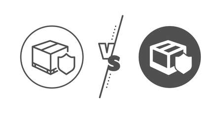 Parcels tracking sign. Versus concept. Delivery insurance line icon. Shipping box symbol. Line vs classic delivery insurance icon. Vector