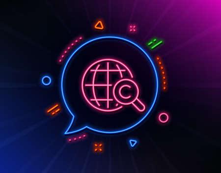 International Сopyright line icon. Neon laser lights. Copywriting sign. World symbol. Glow laser speech bubble. Neon lights chat bubble. Banner badge with international Сopyright icon. Vector