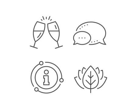 Champagne glasses line icon. Chat bubble, info sign elements. Romantic celebration sign. Love chin-chin symbol. Linear champagne glasses outline icon. Information bubble. Vector  イラスト・ベクター素材