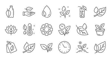 Plants line icons. Leaf, Growing plant and Humidity thermometer. Water drop linear icon set. Quality line set. Vector Archivio Fotografico - 133856380