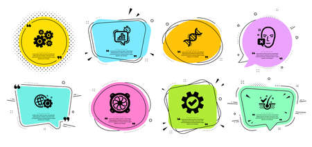 Service, Statistics timer and Computer fan line icons set. Chat bubbles with quotes. Cogwheel, Seo gear and Chemistry dna signs. Face declined, Anti-dandruff flakes symbols. Vector Illustration