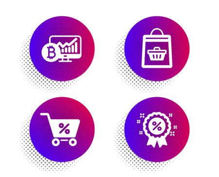 Special offer, Online buying and Bitcoin chart icons simple set. Halftone dots button. Discount sign. Discounts, Shopping cart, Cryptocurrency statistics. Sale shopping. Finance set. Vector