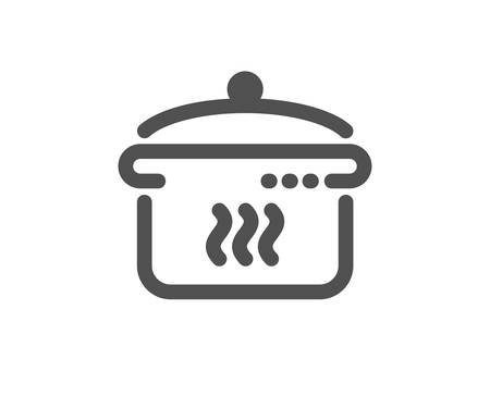Cooking sign. Boiling pan icon. Food preparation symbol. Classic flat style. Simple boiling pan icon. Vector