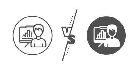 Column graph sign. Versus concept. Presentation board line icon. Growth diagram symbol. Line vs classic presentation board icon. Vector