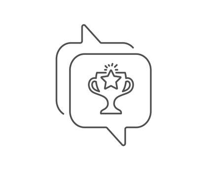 Winner cup line icon. Chat bubble design. Sport Trophy with Star symbol. Victory achievement or Championship prize sign. Outline concept. Thin line victory icon. Vector Ilustrace