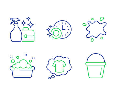 T-shirt, Dishwasher timer and Dirty spot line icons set. Hand washing, Cleanser spray and Bucket signs. Laundry shirt, Cleaning dishes, Laundry service. Washing liquid. Cleaning set. Vector