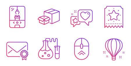 Loyalty ticket, Packing boxes and Verified mail line icons set. Heart, Chemistry lab and Swipe up signs. Crane claw machine, Air balloon symbols. Bonus star, Delivery box. Technology set. Vector