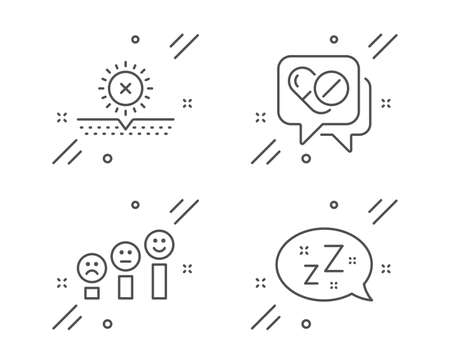 No sun, Medical drugs and Customer satisfaction line icons set. Sleep sign. Uv protect, Medicine pills, Happy smile chart. Zzz bubble. Line no sun outline icon. Vector