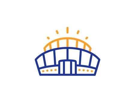 Competition building sign. Arena stadium line icon. Sport complex symbol. Colorful outline concept. Blue and orange thin line arena stadium icon. Vector