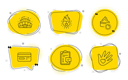 Checklist, Heart flame and Social responsibility signs. Chat bubbles. Credit card, Arena stadium and Sun cream line icons set. Card payment, Competition building, Face lotion. Survey. Vector Stock Vector - 133856390
