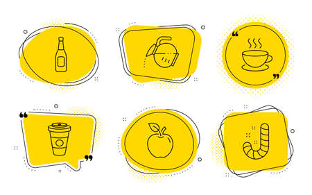 Cappuccino, Apple and Candy signs. Chat bubbles. Takeaway coffee, Beer and Coffee pot line icons set. Hot latte drink, Pub alcohol, Tea drink. Espresso cup. Food and drink set. Vector Ilustracja