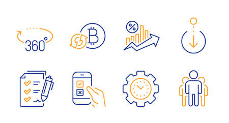 360 degrees, Survey checklist and Refresh bitcoin line icons set. Scroll down, Time management and Loan percent signs. Mobile survey, Group symbols. Full rotation, Report. Technology set. Vector