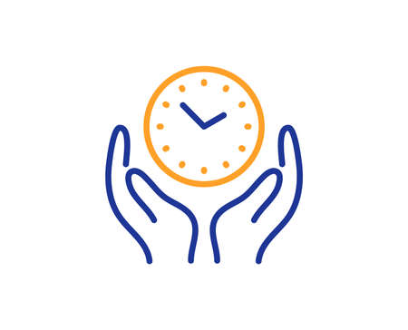 Clock sign. Safe time line icon. Hold watch symbol. Colorful outline concept. Blue and orange thin line safe time icon. Vector