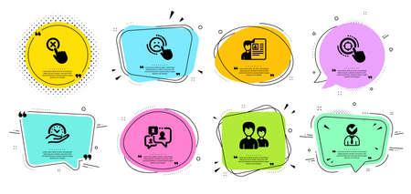 Support-Chat-, Vakanz- und Ablehnen-Klickzeilen-Icons gesetzt. Chat-Blasen mit Anführungszeichen. Sichere Zeit, Vorstellungsgespräch und SEO-Zielzeichen. Paar, Abneigung gegen Symbole. Kommentarblase, Geschäftsmann Konzept. Vektor Vektorgrafik