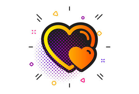 Two Hearts sign. Halftone circles pattern. Couple Love icon. Valentines day symbol. Classic flat hearts icon. Vector