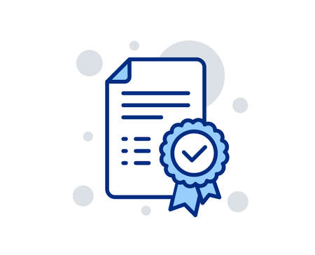 Certificate line icon. Verified document sign. Accepted or confirmed symbol. Linear design sign. Colorful certificate icon. Vector