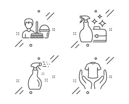 Cleaning service, Cleanser spray and Cleaning spray line icons set. Hold t-shirt sign. Bucket with mop, Washing liquid, Washing cleanser. Laundry shirt. Cleaning set. Vector 일러스트