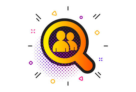 Search employees sign. Halftone circles pattern. Business recruitment icon. Magnifying glass symbol. Classic flat search employees icon. Vector