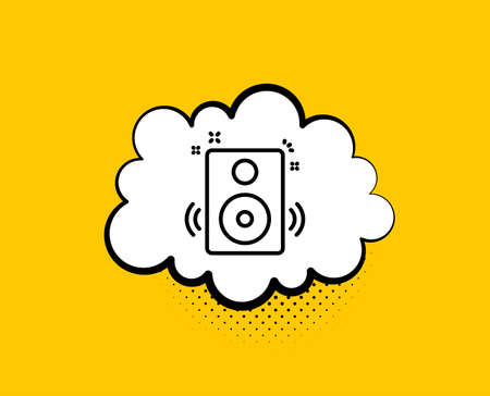 Speakers line icon. Comic speech bubble. Music sound sign. Musical device symbol. Yellow background with chat bubble. Speakers icon. Colorful banner. Vector