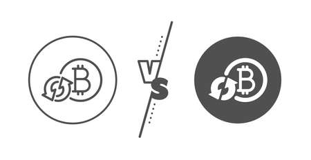 Refresh cryptocurrency coin sign. Versus concept. Bitcoin line icon. Crypto money symbol. Line vs classic refresh bitcoin icon. Vector