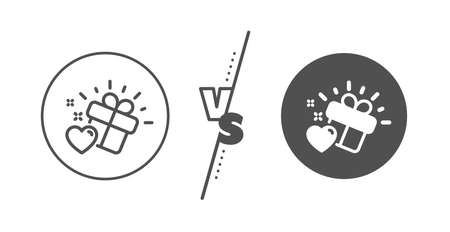 Heart present sign. Versus concept. Love gift line icon. Valentine day symbol. Line vs classic love gift icon. Vector
