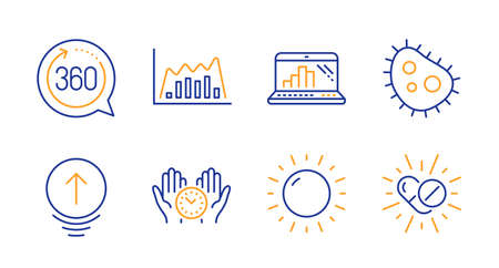 360 degrees, Swipe up and Infographic graph line icons set. Bacteria, Safe time and Graph laptop signs. Sunny weather, Medical drugs symbols. Full rotation, Scrolling page. Science set. Vector